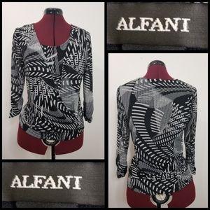 alfani woman 3/4 sleeve wrap blouse size small